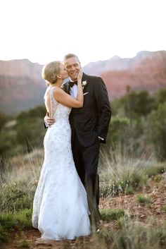 Enchantment Resort Wedding. Groom wearing tux in the red rocks of Sedona