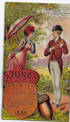 1885 Victorian trade card for Acorn collars and cuffs made by the S. L. Munson Co. Albany New York depicting a handsome Victorian couple and an acorn shaped calendar for June 1885