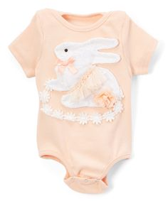 Peach Bunny Bodysuit - Infant