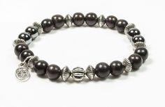 Bracelet créateur Bois d'Ebène marron et Hématite brillante