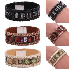 Mens Womens Bracelet Bangle Wristband Braided Punk Wrap Stainless Steel Clasp…
