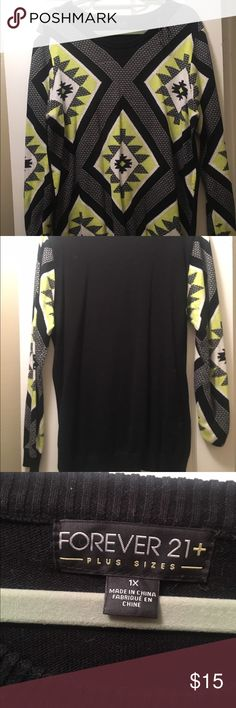 Black and lime green Aztec pattern sweater Worn a couple times. Back is solid black Forever 21 Sweaters Crew & Scoop Necks