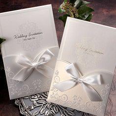 White Ribbon Pocket Elegant Wedding Invitations   ItsInvitation