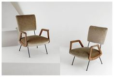 Pair of wood arm club chairs, Italy 1950