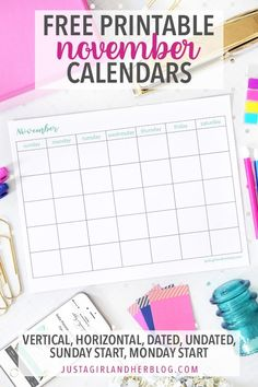 November calendar pages can help you organize your month, make the most of your time, plan upcoming events, and more! Grab these free November printable calendars and get planning!   #freeprintables #freeprintable #calendar #printablecalendar #novembercalendar #novembercalendars November Printable Calendar, Calendar May, Free Printable Calendar, Calendar Pages, Printable Planner, Printable Designs, Free Printables, Binder Organization, Organizing Tips