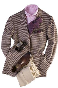 Cesare Attolini Houndstooth Sport Coat- pattern and color combination works Mens Fashion Suits, Fashion Wear, Mens Suits, Stylish Men, Men Casual, Gentlemen Wear, Elegant Man, Gentleman Style, Blazer