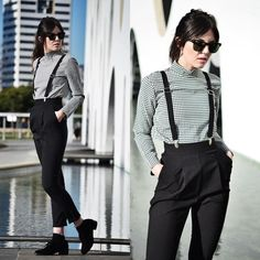 Suspenders are so cute with semi high waisted trousers!!! #fashion #geek #suspenders