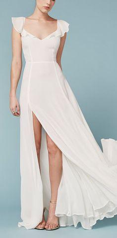 frill chiffon gown