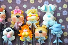 Pack of 10 Baby Animals Black Pens Cute Polymer by MonPetitPapier