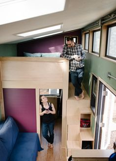 This is Lina and Isha's Tiny For Two that they designed and built recently. You might remember Lina Mernard's Lucky Penny that lived at the Simply Home Community in Portland, Oreg… Tiny House Bedroom, Tiny House Loft, Tiny House Plans, Tiny House Design, Tiny House On Wheels, Tiny Spaces, Small Rooms, Open Spaces, Simply Home