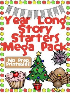 Year Long Story Starters Mega Pack Check out this wonderful pack of story starters for your entire year! There are 11 sets of creative and easy starters. Each set includes 20 unique starters in both B&W and Color, and task cards that can be used for literacy centers.  These are easy to use, just print and go! Students will love writing short stories and teachers will love the ease of this product. Purchasing the mega pack saves you $25! Great for grades 2-4!
