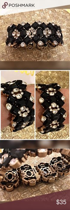 J. Crew stunning black stretch bracelet! Exquisite! With crystal like and black beveled beadwork in gold tone - stretchy to fit most! J. Crew Jewelry Bracelets