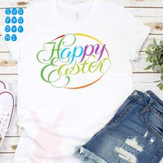 HAPPY EASTER SVG easter svg design shirt eggs rainbow | Etsy Penguin Logo, Easter Colors, Vector Design, Happy Easter, Cutting Files, Silhouette Cameo, Shirt Designs, Cricut, Eggs