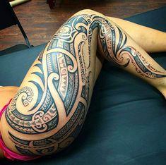 Maori Tattoos Cover Up Marquesan Tattoos Maori Tattoos, Irezumi Tattoos, Maori Tattoo Meanings, Polynesian Tribal Tattoos, Marquesan Tattoos, Samoan Tattoo, Sleeve Tattoos, Tribal Hip Tattoos, Polynesian Tattoo Sleeve