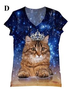 Hey, I found this really awesome Etsy listing at https://www.etsy.com/listing/130184483/woman-cat-with-crown-in-galaxy-print-top