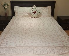 Block Printed Bed Sheet – White, with matching Pillow Covers -  $35