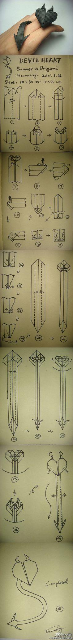 DIY Origami Devil Heart! Mhwahahahaha!