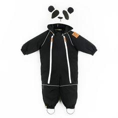Schwarzer Schneeanzug mit Pandakapuze