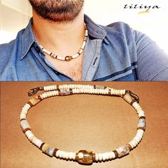 Men Choker Necklace Surfer necklace Boho Choker necklace Real Indian Agate gems - Unique Unisex Necklace - Mens Jewelry - Gift For Him