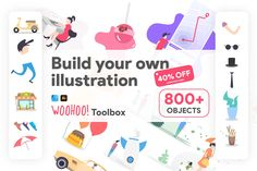 What is Woohoo! A modular illustration kit to build vector illustrations from scratch or to boost your work. You can build from people to complete Graphic Illustration, Vector Illustrations, Affinity Designer, Thinking Outside The Box, Toolbox, The Outsiders, Product Launch, Graphic Design, Creative