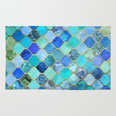 Cobalt Blue, Aqua & Gold Decorative Moroccan Tile Pattern rugs home decor by Micklyn