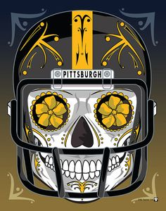 """Pittsburgh Steelers"" Sugar Skull Day of the Dead Calavera Print Inspired by the professional football team"