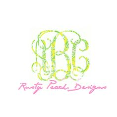 Lilly Monogram Vinyl Decal, Your Choice of Color, Vine Monogram, Preppy Pattern, Lilly Pulitzer, Girlie Initials, Yeti Lilly Gifts, For Her. by RustyPeachDesigns on Etsy