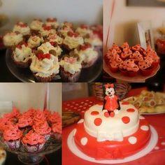 Minnie Polka Dot tematski 1. rođendan - torta i cupcakes