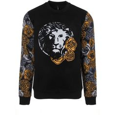 Versus Versace Floral Lion Head Sweatshirt (26,635 PHP) ❤ liked on Polyvore featuring men's fashion, men's clothing and slim fit mens clothing