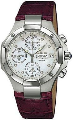 Seiko Women's SNA465 Coutura Alarm Chronograph Watch Seiko. $250.00. Quality Japanese-Quartz movement. Sapphire crystal. Water-resistant to 330 feet (100 M). Stainless-steel case; Mother-of-pearl dial; Date function; Chronograph functions