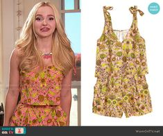Liv's pink and yellow floral romper on Liv and Maddie.  Outfit Details: https://wornontv.net/68216/ #LivandMaddie