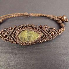 Makramee Armband Boho-Armband Gold Rutilquarz mit von neferknots