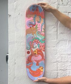 """Poppy Crew on Instagram: """"waited so long to be able to post this ahh!! The skateboard deck I painted for @miles_tewson 's birthday present ❤️❤️ painted about a month…"""""""