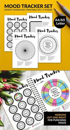 Nice yearly and monthly bullet journal mood trackers to print and color. Printable MOOD Tracker Inserts | Monthly Mood Tracker | Bullet Journal Planner Insert | A4 | A5 | US Letter | Instant Download PDF #affiliate #bulletjournalcollection #moodtracker #bujoprintables #planneraddict