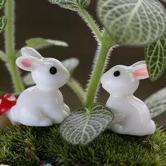Mini Rabbit Garden Ornament Miniature Figurine Plant Pot Fairy Garden Decor New Terrarium Figurines, Fairy Figurines, Miniature Figurines, Miniature Rabbits, Miniature Plants, Miniature Fairy Gardens, Miniature Dollhouse, Garden Decor Items, Garden Crafts