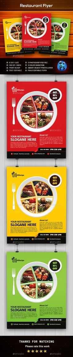 Restaurant Flyer Design Template - Restaurant Flyers Design Template PSD. Download here: https://graphicriver.net/item/restaurant-flyer/19361161?ref=yinkira