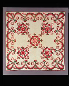 """Buchanan's Banner with Rose of Sharon, Lotus Flowers and Currants, quilt, 1857, 95-5/8"""" x. 95-3/4"""""""