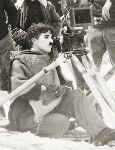"charlespencerchaplin: "" Charlie Chaplin photographed on the set of The Gold Rush…"