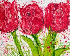 Abstract Flower Painting Red Tulips Abstract by JohnosArtStudio, $95.00