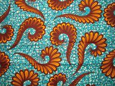 Bright Blue with Orange ferns #african #wax #print #fabric