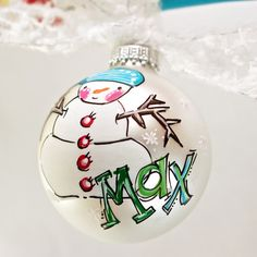Personalized snowman ornament. Great for first christmas, toddler, kids, or anyone! Hostess gift, baby's first Christmas, gender reveal is a new popular favorite use of my original ornaments When orde