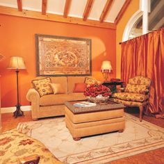 Image result for living room gold orange