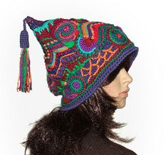 Freeform Crochet Jester Hat Beanie via Flickr.
