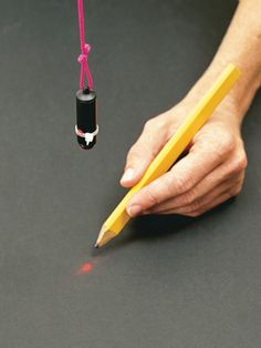DIY Tip of the Day: Laser plumb bob. Turn your key chain laser pointer into a plumb bob. Replace the key chain with mason's line or other light string and hold the button down with a zip tie. Hang the laser as you would a plumb bob and mark right on the laser dot. - John J. Gregory
