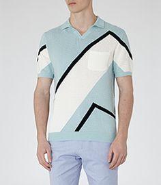 Harlem Sky Blue Block Colour Polo Shirt - REISS