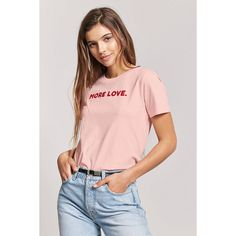 Forever21 More Love Graphic Tee (11 AUD) ❤ liked on Polyvore featuring tops, t-shirts, graphic t shirts, crew neck tee, pink t shirt, short sleeve tee and pink tee