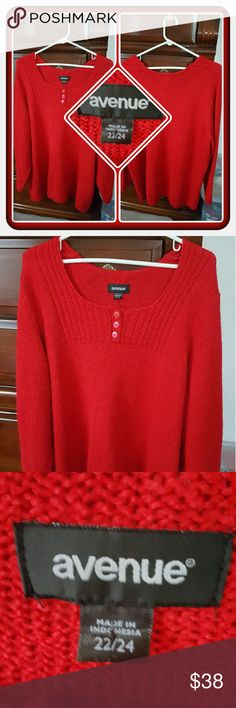 ❤ EUC Woman's Red Sweater Size 2X ❤ Like New Woman's Red Sweater By Avenue Size Is A Generous Size 2. I Wore Once As Seen In Last Picture But It's To Big On Me. Excellent Preloved Condition 🚫 PAYPAL 🚫 TRADES 🚫 LOWBALL OFFERS PRICED LOW TO SELL ❤ Avenue Sweaters Crew & Scoop Necks