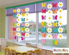 Bunny Garland for Easter Window Decor Kids Crafts, Christmas Crafts For Kids, Preschool Crafts, Easter Crafts, Diy And Crafts, Classroom Window Decorations, School Decorations, Classroom Decor, Flower Decorations