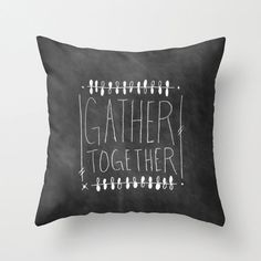 Chalkboard Home Decor Throw Pillow Cover Black by bellesandghosts, $36.00