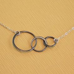 Circle Necklace Oxidized Sterling Silver Links   Past by ZionShore.